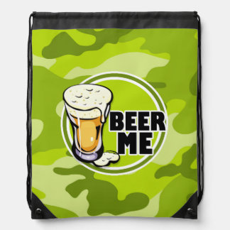 Beer Me bright green camo camouflage Cinch Bags