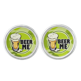 Beer Me bright green camo camouflage Cufflinks