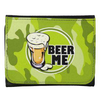 Beer Me bright green camo camouflage Wallet