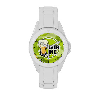Beer Me bright green camo camouflage Watches