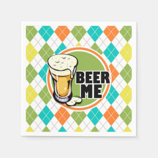 Beer Me!  Colorful Argyle Pattern Disposable Napkins