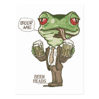 Beer Me Green Frog by Mudge Studios Postcard