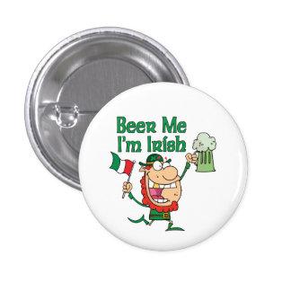 Beer Me I'm Irish Funny Leprechaun 3 Cm Round Badge