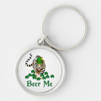 Beer Me Tiger Silver-Colored Round Key Ring