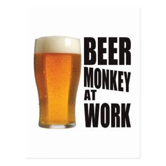 Beer Monkey Work Postcard