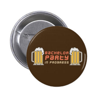 Beer Mugs Bachelor Party in Progress 6 Cm Round Badge