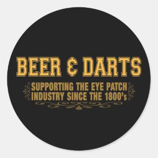 Beer N Darts Round Sticker