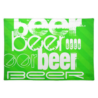 Beer; Neon Green Stripes Cloth Placemat