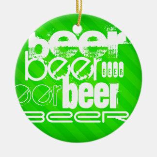 Beer; Neon Green Stripes Round Ceramic Decoration