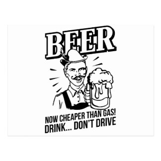 BEER - now cheaper than gas Drink don t drive Postcards