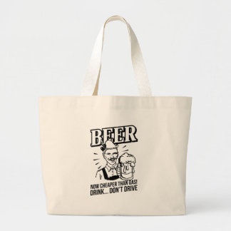 BEER - now cheaper than gas! Drink...don't drive Canvas Bags
