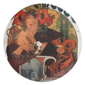 Beer of the Meuse by Alphonse Mucha Plate