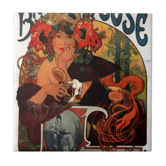 Beer of the Meuse by Alphonse Mucha Tile