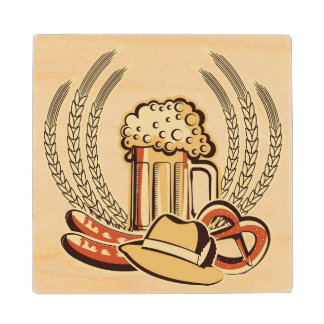 Beer Oktoberfest Graphic Wood Coaster