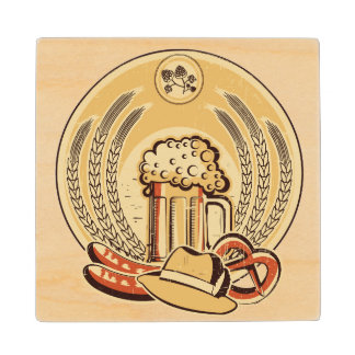 Beer Oktoberfest Label Vintage Graphic Wood Coaster