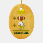 Beer plus Football plus Cheese Equals Wisconsin Ornament