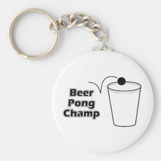 Beer Pong Champ Basic Round Button Key Ring