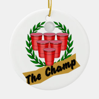 Beer Pong Champ Round Ceramic Decoration