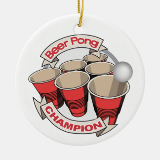 Beer Pong Champion Gift Round Ceramic Decoration
