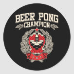 Beer Pong Champion Round Stickers