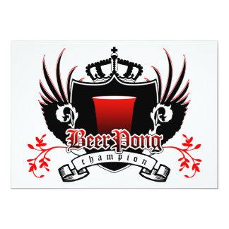 beer pong champion royal crest invitations