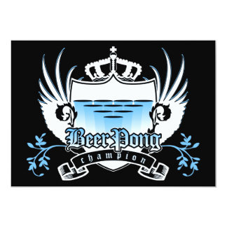 "beer pong champion royal crest 5"" x 7"" invitation card"