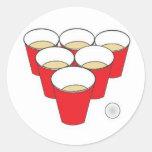 Beer Pong Cups Round Sticker