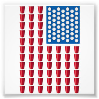 Beer Pong Drinking Game American Flag Art Photo