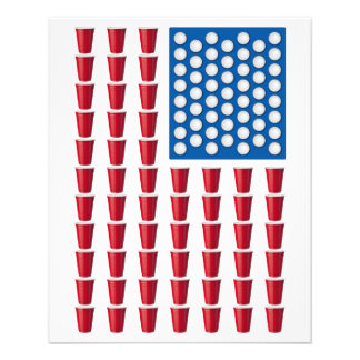 Beer Pong Drinking Game American Flag 11.5 Cm X 14 Cm Flyer