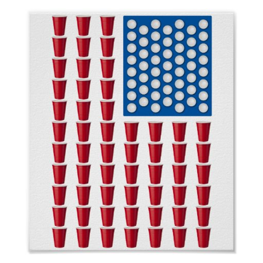 Beer Pong Drinking Game American Flag Posters