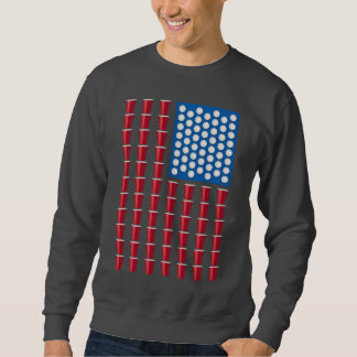 Beer Pong Drinking Game American Flag Sweatshirt