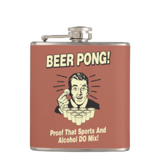 Beer Pong: Proof Alcohol & Sports Mix Hip Flask