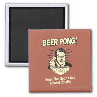 Beer Pong: Proof Alcohol & Sports Mix Square Magnet