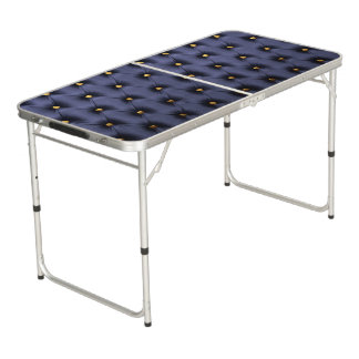 Beer Pong Table with  dark blue capitone