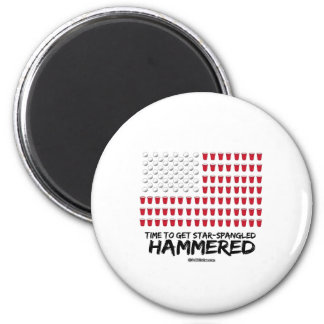 Beer Pong -Time to get star-spangled hammered 6 Cm Round Magnet