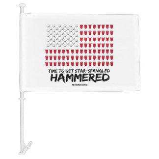 Beer Pong -Time to get star-spangled hammered Car Flag