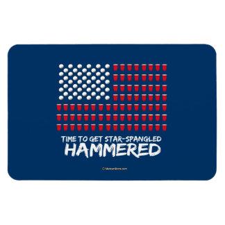 Beer Pong -Time to get star-spangled hammered Rectangular Photo Magnet