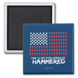 Beer Pong -Time to get star-spangled hammered 2 Inch Square Magnet