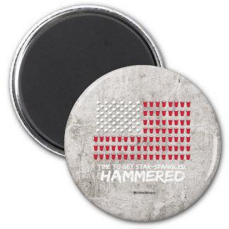 Beer Pong -Time to get star-spangled hammered 6 Cm Round Magnet