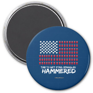 Beer Pong -Time to get star-spangled hammered 3 Inch Round Magnet