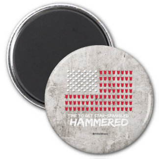 Beer Pong -Time to get star-spangled hammered 2 Inch Round Magnet