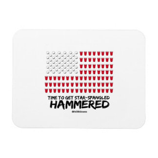 Beer Pong -Time to get star-spangled hammered Rectangular Photo Magnet