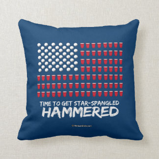 Beer Pong -Time to get star-spangled hammered Throw Cushions