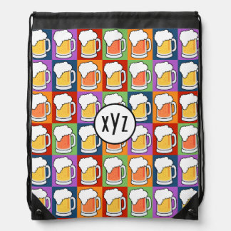 BEER Pop Art custom monogram backpack