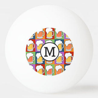 BEER Pop Art custom monogram ping pong balls