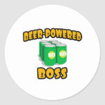 Beer-Powered Boss Round Stickers
