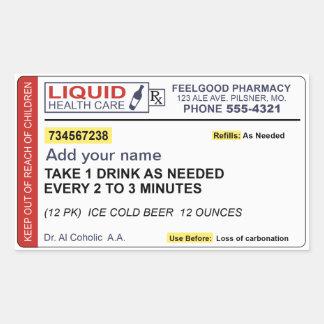 Beer Prescription (Add your name) Rectangular Sticker
