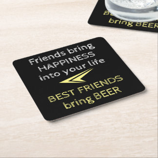 Beer Quote Square Paper Coaster