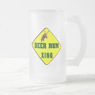 Beer Run Crossing Frosted Glass Beer Mug