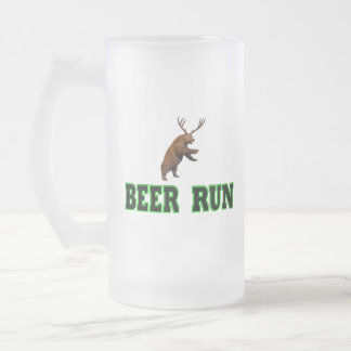 Beer Run Frosted Glass Beer Mug